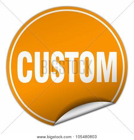 Custom Round Orange Sticker Isolated On White