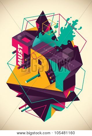 Abstraction with typography. Vector illustration.