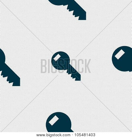 Key Sign Icon. Unlock Tool Symbol.. Seamless Abstract Background With Geometric Shapes.