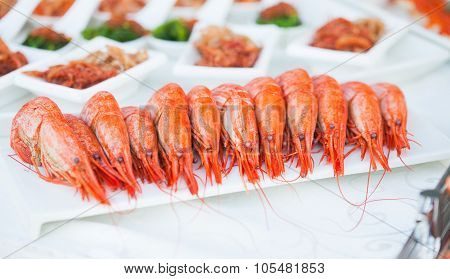 King Prawns On A Banquet. Starters Table