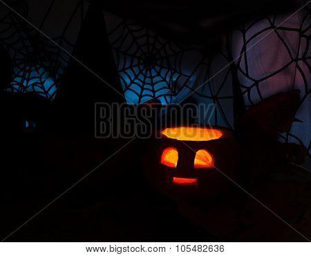 Halloween Dark Image With Burning Pumpkin