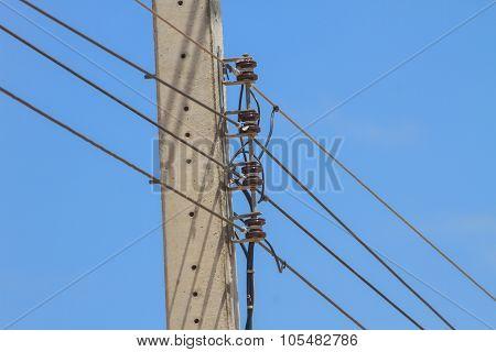 Electricity Pole On Blue Sky