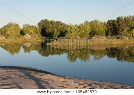 Reflections on the lake at St Anthony Idaho