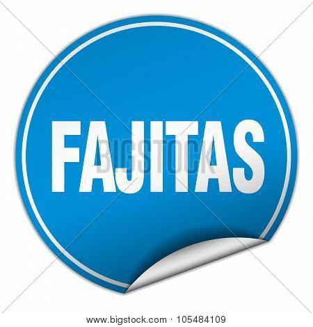 Fajitas Round Blue Sticker Isolated On White