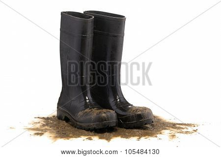 Muddy Rubber Boots 3/4 View Isolated On White Background