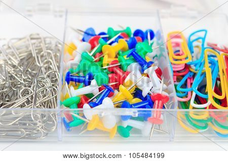 Multicolored Paper Clips And Buttons Stationery