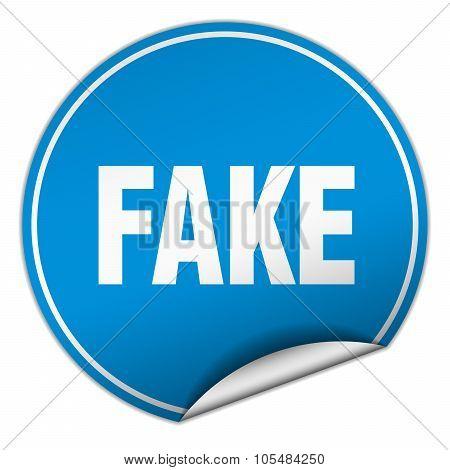 Fake Round Blue Sticker Isolated On White