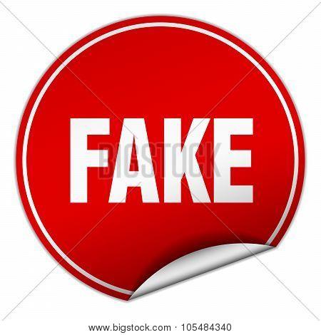 Fake Round Red Sticker Isolated On White