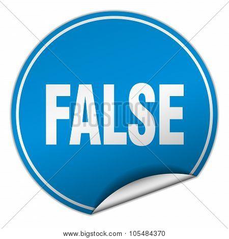 False Round Blue Sticker Isolated On White