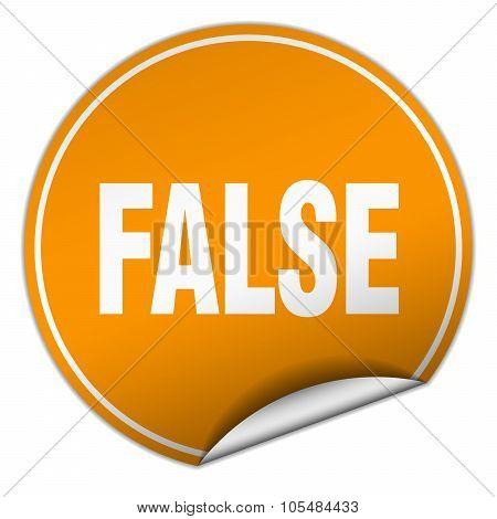 False Round Orange Sticker Isolated On White