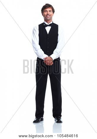 Young Waiter man. Isolated over white background.