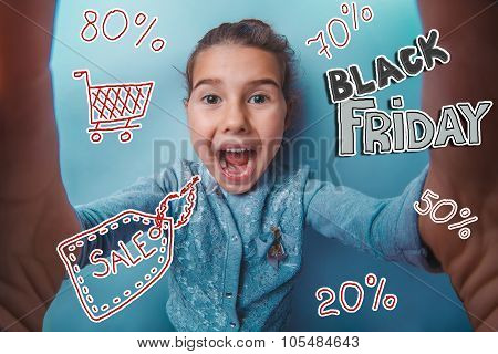 teen girl Black Friday discount sale shopping shouts opened her mouth