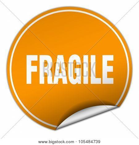 Fragile Round Orange Sticker Isolated On White