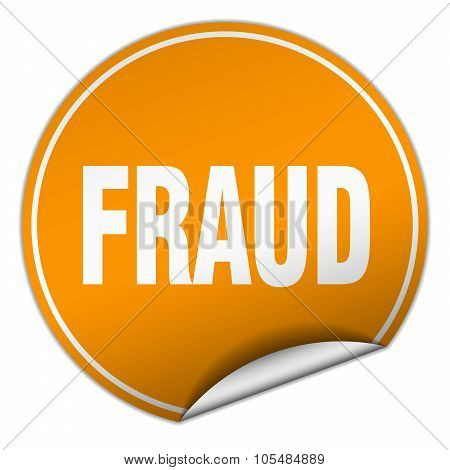 Fraud Round Orange Sticker Isolated On White