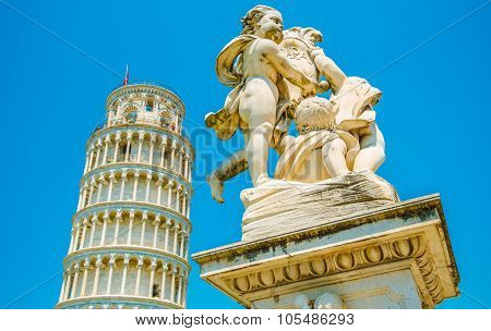 Putti Fountain Leaning Tower