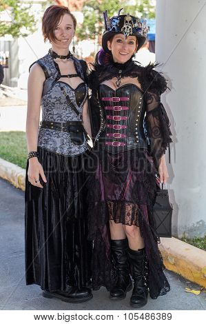 Galveston, Tx/usa - 12 06 2014: Couple Of Women Dressed In Vintage Style At Dickens On The Strand Fe