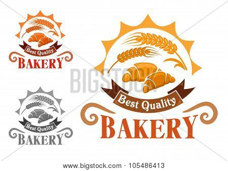 Bakery shop emblem with french croissants