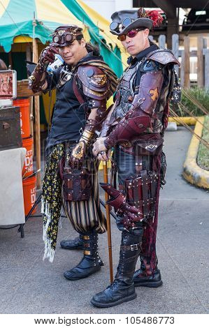 Galveston, Tx/usa - 12 06 2014: Men Dressed As Fantasy Pirates At Dickens On The Strand Festival In