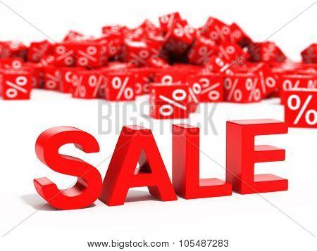 Red sale word in focus on white background