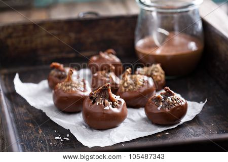 Figs stuffed and coated with chocolate