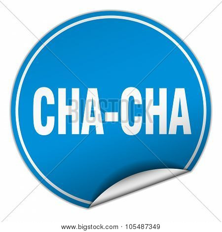 Cha-cha Round Blue Sticker Isolated On White