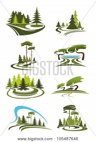 Park, garden and forest landscape icons