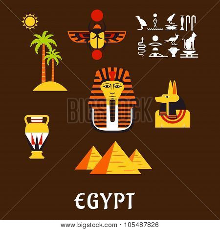 Egypt travel and ancient culture icons