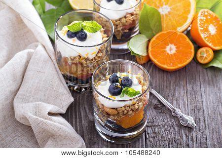 Granola breakfast parfait with citrus