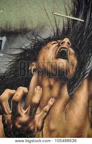 Mural angry man