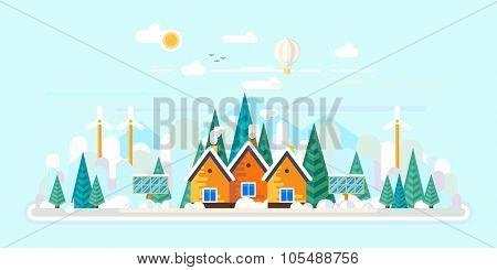 Vector flat illustrations - Eco style life. Eco farm. Green energy. Winter