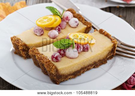 Pumpkin tart on gingerbread crust