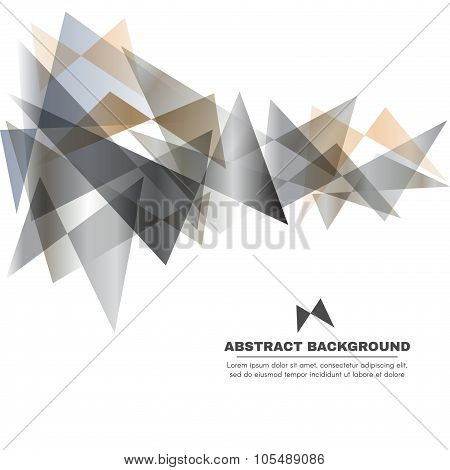 Silver gray and gold tone - Butterfly Triangle vector abstract background