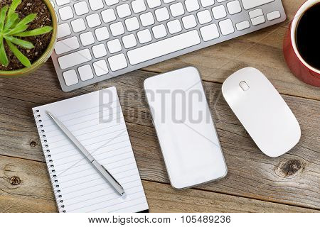 Portable Technology With Old Fashion Pen And Paper On Office Desktop