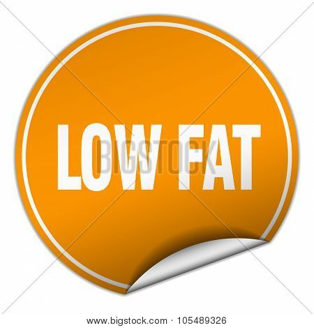 Low Fat Round Orange Sticker Isolated On White