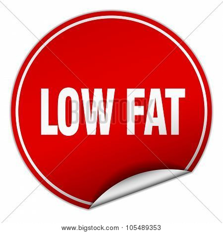 Low Fat Round Red Sticker Isolated On White