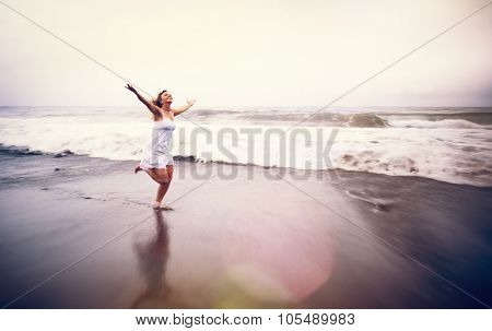 Young Woman Beach Relaxation Freedom Solitude Concept