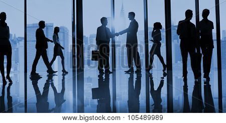 Group of Business People in Office Building Concept