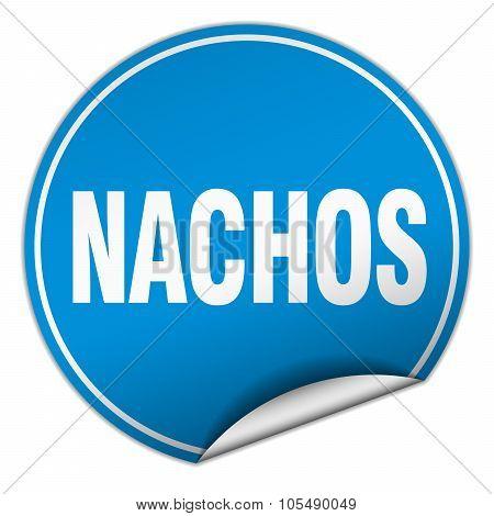 Nachos Round Blue Sticker Isolated On White