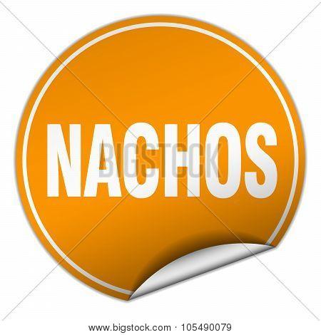 Nachos Round Orange Sticker Isolated On White