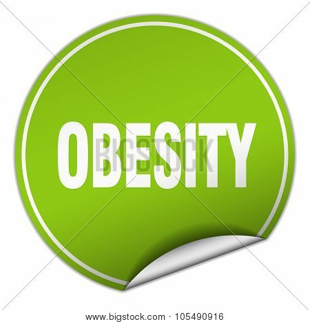 Obesity Round Green Sticker Isolated On White