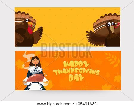 Creative website header or banner set with cute Turkey Birds and young pilgrim girl for Happy Thanksgiving Day celebration.