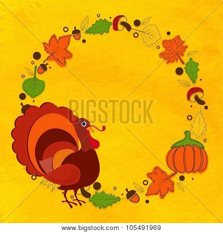 Happy Thanksgiving Day celebration greeting card decorated with Turkey Bird, autumn leaves, fruits and pumpkins on yellow background.