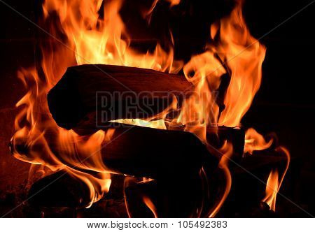 fire on fireplace