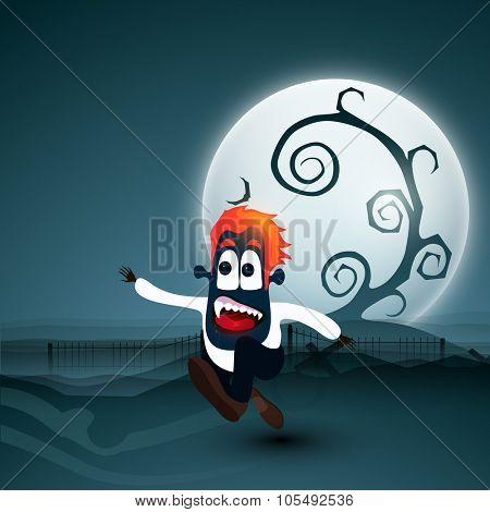 Scary running boy on horrible full moon, night background for Happy Halloween Party celebration.