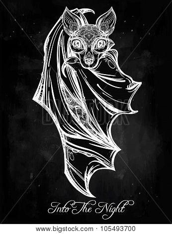 Ornate illustration of a bat in vintage style.