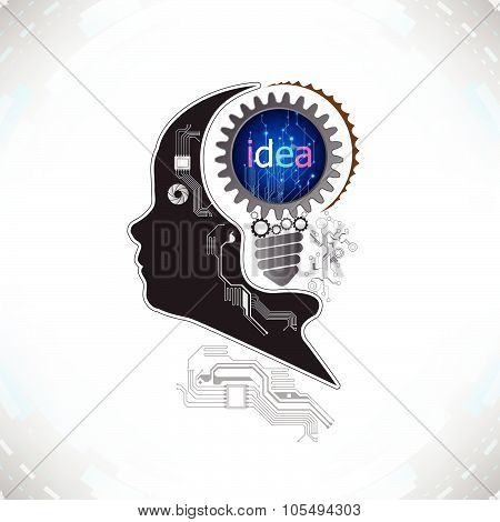 Human Head With Gears And Cogs Working Together Idea Concept On Electronic Technology Background Vec