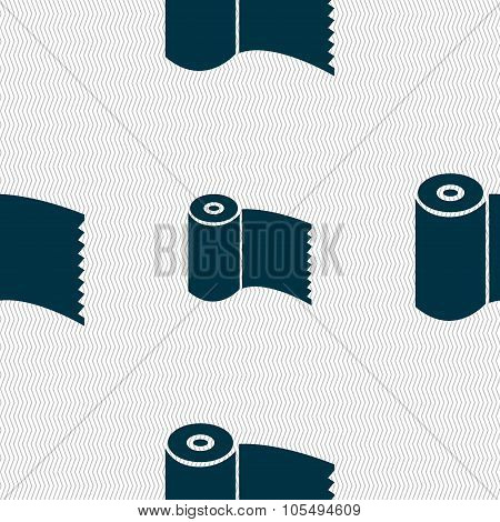 Toilet Paper, Wc Roll Icon Sign. Seamless Abstract Background With Geometric Shapes.