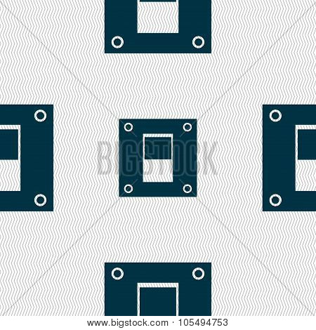 Power Switch Icon Sign. Seamless Abstract Background With Geometric Shapes.