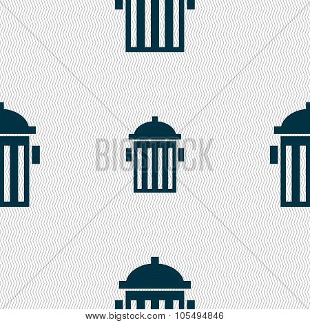 Fire Hydrant Icon Sign. Seamless Abstract Background With Geometric Shapes.