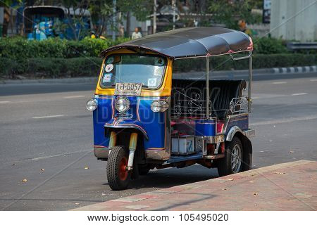 Auto Rickshaw Or Tuk-tuk On The Street Of Bangkok.thailand